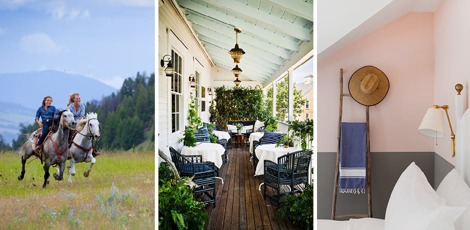 From left: riding at The Ranch at Rock Creek; the porch at Greydon House; summer-inspired details at The Chequit