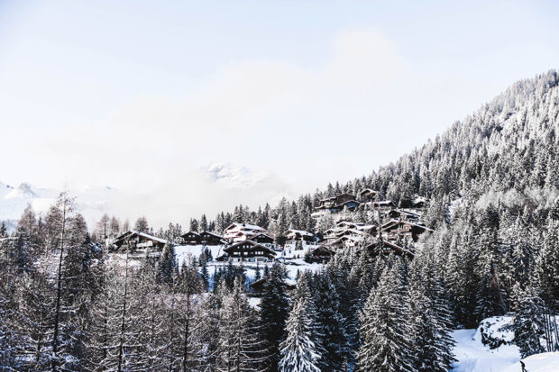 A snow-covered village in the Swiss Alps. Courtesy Artiom Vallat