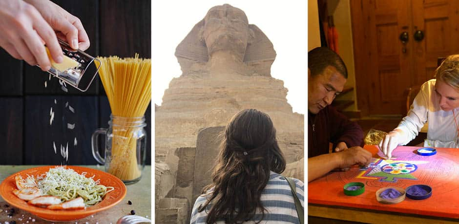 From left: Learning to cook cacio e pepe, photo by Victoria Shes; Standing before the Great Sphinx of Giza in Egypt, Courtesy Indagare; Constructing a sand mandala in Bhutan, photo by Indagare's Caroline Hansen.